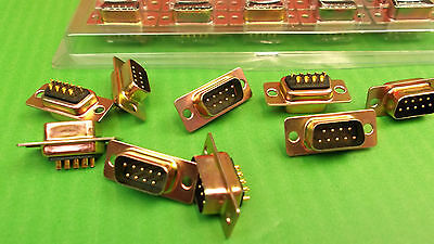 9 Way Dee Plug Turned Male DX09PZ Machined Pin DX GOLD Ceep x 5pcs @ £0.20p ONO