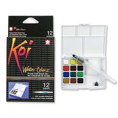 Sakura Koi Water Colors Pocket Field Sketch Box W/Brush 12 Colors XNCW12H