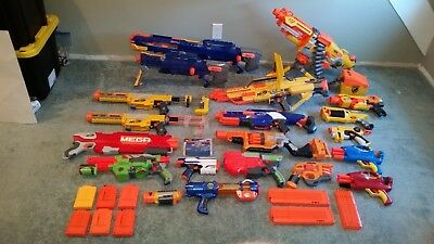 NERF GUN LOT OF 19 NERF Guns + Accessories ~ Vulcan, Longshot, Zombie, Airtech