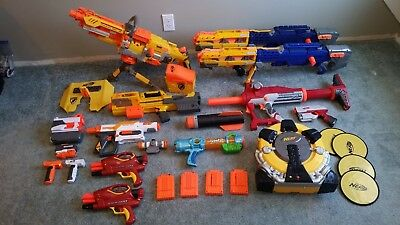 NERF GUN LOT OF 10 NERF Guns + Accessories ~ Vulcan, Longshot, Titan, Deploy