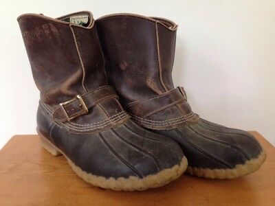 3b70546de3ee LL Bean Slip On Leather Buckle Rubber Maine Hunting Shoes Duck Boots Mens 8W  41