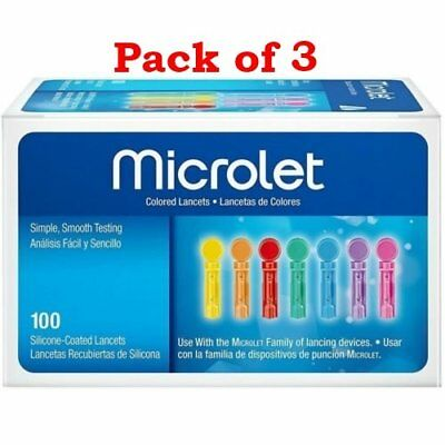 Bayer Microlet Colored Lancets Silicone-Coated Sterile 100 Each (Pack of 3)