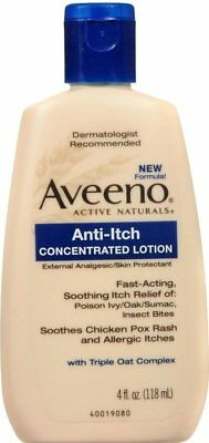 Aveeno Anti-Itch Concentrated Lotion Fast Acting Itch Relief 4 oz (Pack of 6)