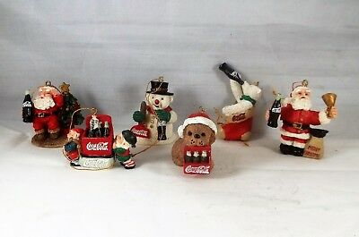 Coca-Cola Set Of 6 Miniature Christmas Ornaments Santa Snowman Bear Dog & Elves
