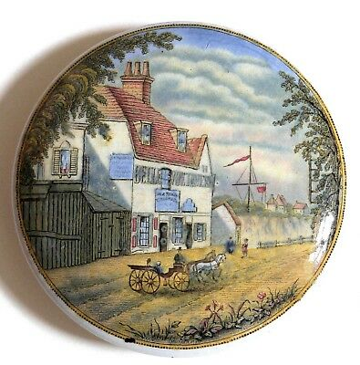 Pot-Lid (Pratt Ware) No 36 (Pegwell Bay - Belle View Tavern -With Carriage)