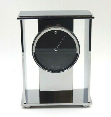 Movado Chrome & Glass Modern Mantle Clock German Quartz Movement Museum Dial