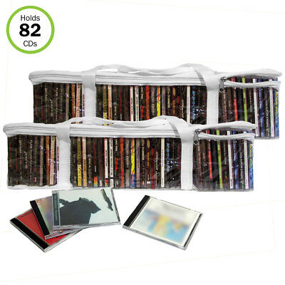 Evelots CD Music Storage Clear Bags,Easy To Carry, Hold 82 CD's Total,Set/2