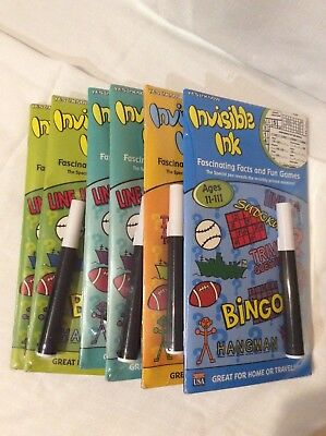 Lot of 6 Invisible Ink Facinating Facts and Fun Games