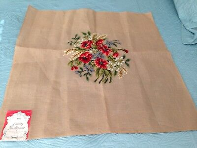 Vintage Pre-Worked Wool Needlepoint Madeira 28.5 X 29 Floral Canvas NWT