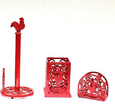 Red Cast Iron Rooster 3 Piece Set Kitchen Utensil, Napkin, & Paper Towel Holders
