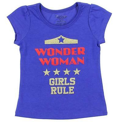 Wonder Woman Toddler Girls S/S Blue Girls Rule Top Size 2T 3T 4T