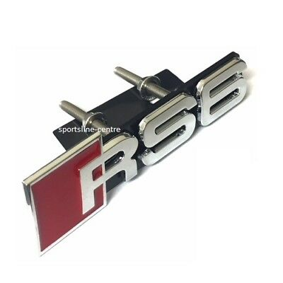 RS6 Grill Badge Emblem Logo Audi Front Grille New Mesh Honeycomb Red Chrome rs6g