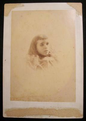 Young Girl With Sad Eyes Trimmed Bangs Antique Cabinet Card Photograph (O) AS IS
