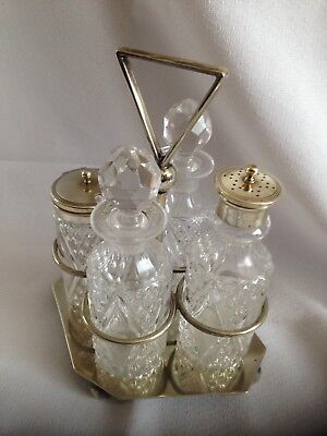 Beautiful Antique Condiment Set on Silver Plate Stand - Reg No for 1907