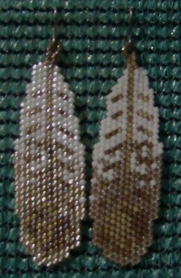 Falcon Feather Earrings Hand Made Seed Beaded