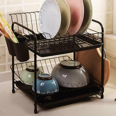Kitchen Shelf Plate Rack Drain Bowl Cutlery Cup Holder Dish Drainer Drying Tray