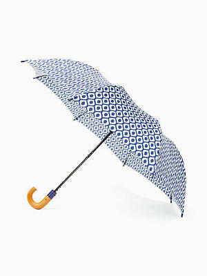 Kate Spade Ikate Blue Tile Print Small Umbrella With Wooden Handle