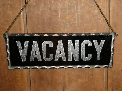 RARE 1920s OLD ORIGINAL EARLY HOTEL 'VACANCY' REVERSE GLASS SIGN VINTAGE ANTIQUE