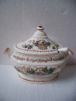 Vintage Small Soup Tureen with Ladle ~ Fruit Basket Pattern ~ Made in Japan