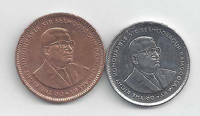 2 DIFFERENT COINS from MAURITIUS - 5 & 20 CENTS (BOTH DATING 2007)
