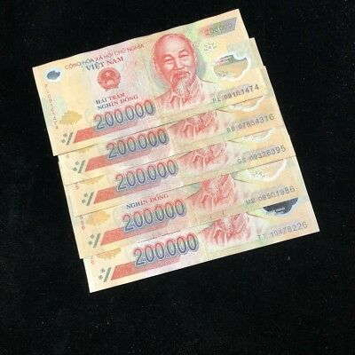 (5) 200,000 Vietnam Dong! 1 Million Total Vnd Circ. Polymer Notes!