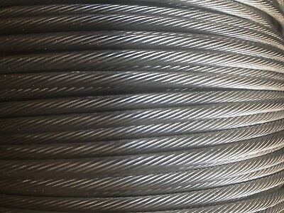 """T-316 Grade 1 x 19 Stainless Steel Cable Wire Rope 1/8"""" - 500ft Spool"""