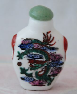 Vintage Chinese Porcelain Snuff Bottle Decorated Hand Painted Dragon & Jade Stop