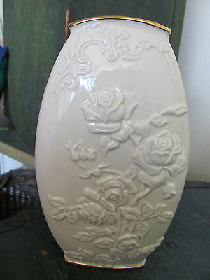 Lenox China Vase, Cream and Gold Colored, Rose Pattern, Great Condition!
