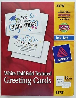 New avery 3378 white half fold textured greeting cards pack of 30 avery white half fold textured greeting cards pack of 26 ink jet 3378 m4hsunfo