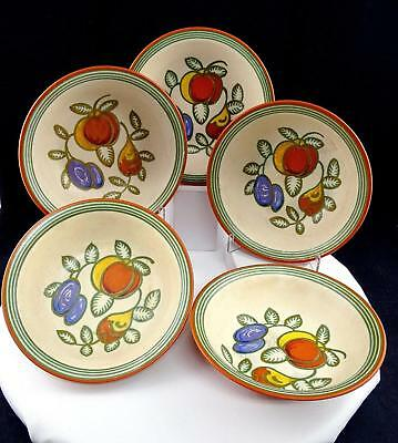 "Gouda Holland Art Pottery Mona Fruit 5 Pc Matte Finish 6 1/2"" Coupe Bowls 1920's"