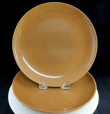 "Russel Wright 2 Pc Iroquois Casual Brown Nutmeg 10 1/8"" Dinner Plates 1949-1964"