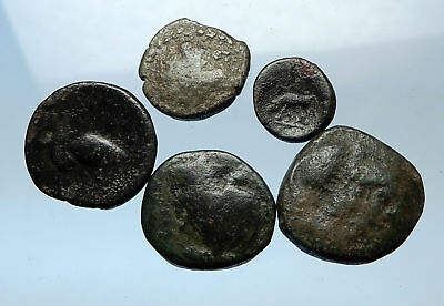 AUTHENTIC Ancient 400BC-250AD GREEK - 5 COINS Group Lot KIT Collection i68986