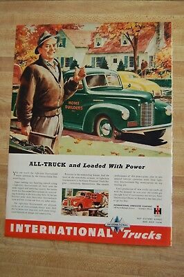 Vintage 1940s Magazine Ad - INTERNATIONAL HARVESTER TRUCKS