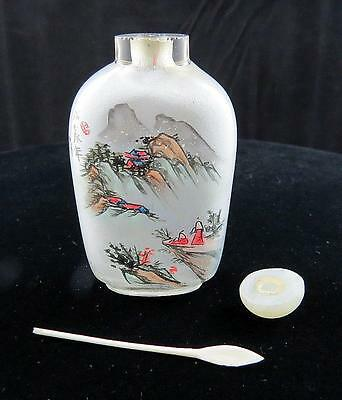 "Chinese Signed Mountain Homes 2 7/8"" Inside Painted Snuff Bottle With Spoon"