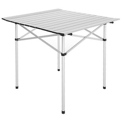 Square Aluminum Alloy Picnic Table Roll Up Portable Folding Camping w/ Bag New
