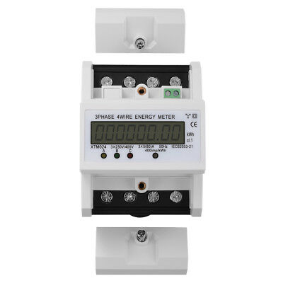 Digital LCD 50Hz 3 x 5(80)A KWH Power Energy Meter 3-Phase 4-Wire DIN Rail TE555