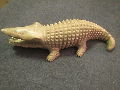 Very Large and Rare Antique Soap Stone Crocodile Carving Soapstone Alligator 14""