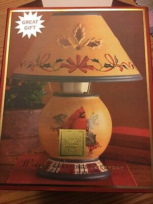Lenox Winter Greetings Holiday Candle Lamp Red Bird NIB Never Used MRP $60
