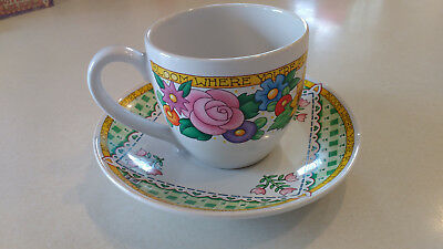 "Vintage MARY ENGELBREIT ""BLOOM WHERE YOU ARE PLANTED"" Coffee TEA CUP SET EUC"