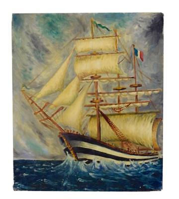 French Vintage Seascape Oil Painting On Board Signed Jannin Sailboat