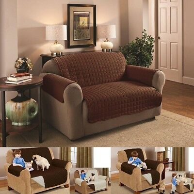 Quilted 1/2/3 Seater Anti-Slip Sofa Couch Recliner Chair Pet Kid Protector Cover