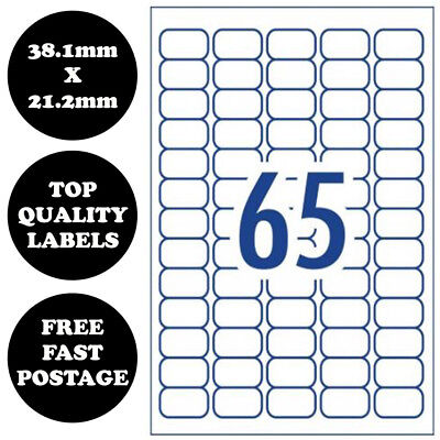 [65 Per Page] A4 Self Adhesive Address Labels Laser Inkjet Print Mailing Sticker