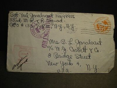 APO 133 SUNNING HILL, ENGLAND 1944 Censored WWII Army Cover 33rd MR & R Squad