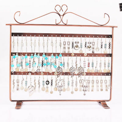 72 Holes Earring Jewelry Necklace Display Rack Metal Stand Holder Bronze/Black