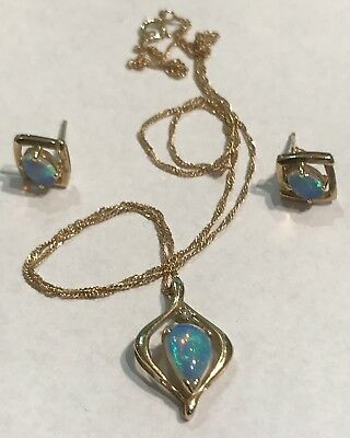 9ct Gold Diamond And Black Opal Necklace Earring Set