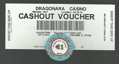 Malta - Daragonara Casino - Cashout Voucher / Ticket and 1 Euro Casino Chip