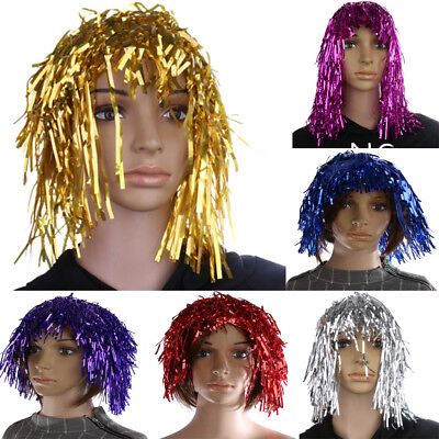 Shiny 80s Disco Tinsel Foil Fancy Dress Party Wig Festival Sports Team Cheer Wig