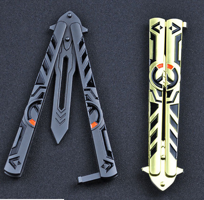 Butterfly Knife Trainer Practice Balisong Gold/Silver Steel Unsharpened Knife