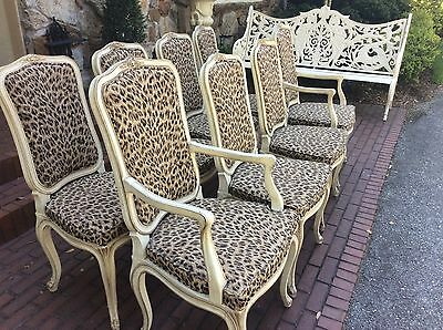Set 8 Henredon French Provincial  Hollywood Regency Leopard Dining Room Chairs