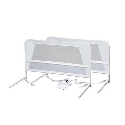 KidCo Mesh and Steel Double Pack Telescopic Toddler Child Bed Rail Guard, White